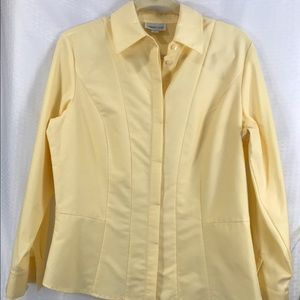 Coldwater Creek yellow button down shirt sz med